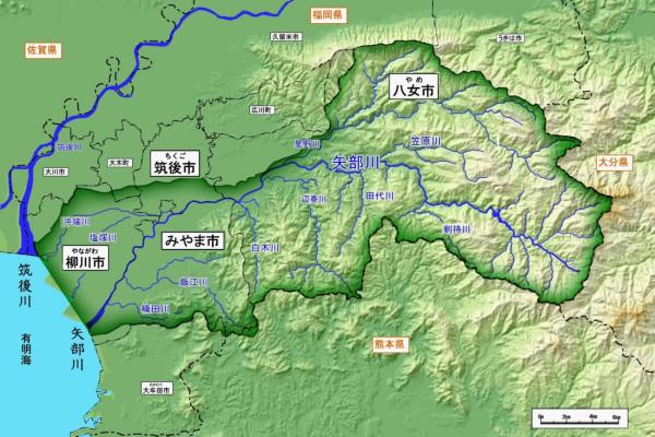 矢部川流域マップ